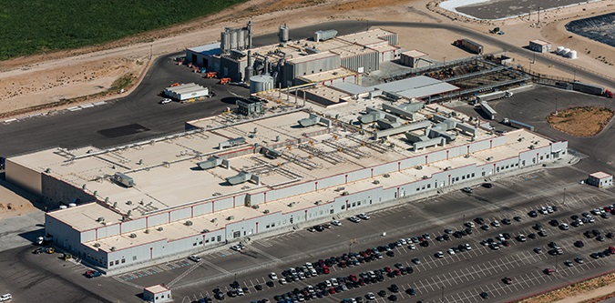 Aerial view of industrial building