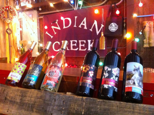 Bottles of wine at Indian Creek Winery