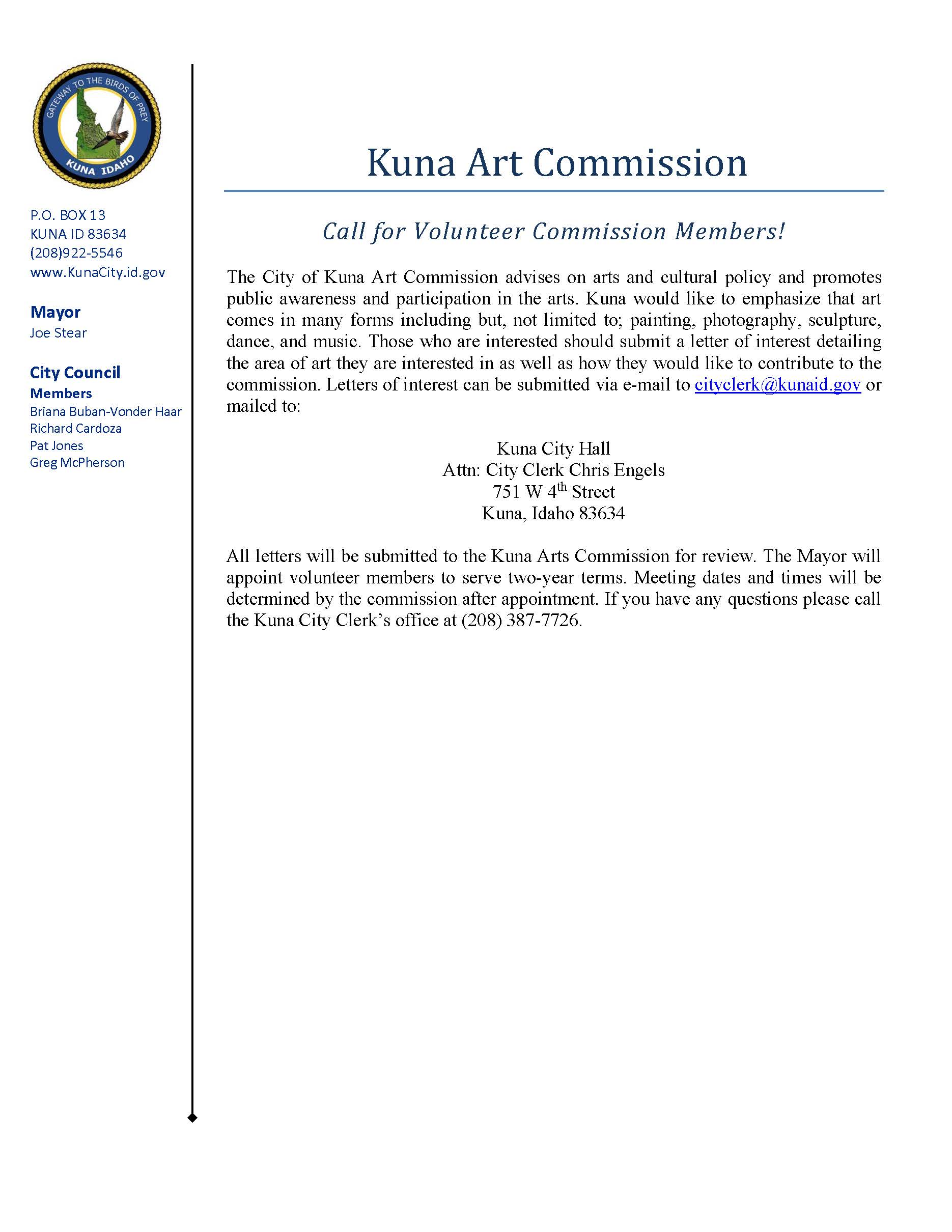 Arts Commission Call for Members (JPEG)