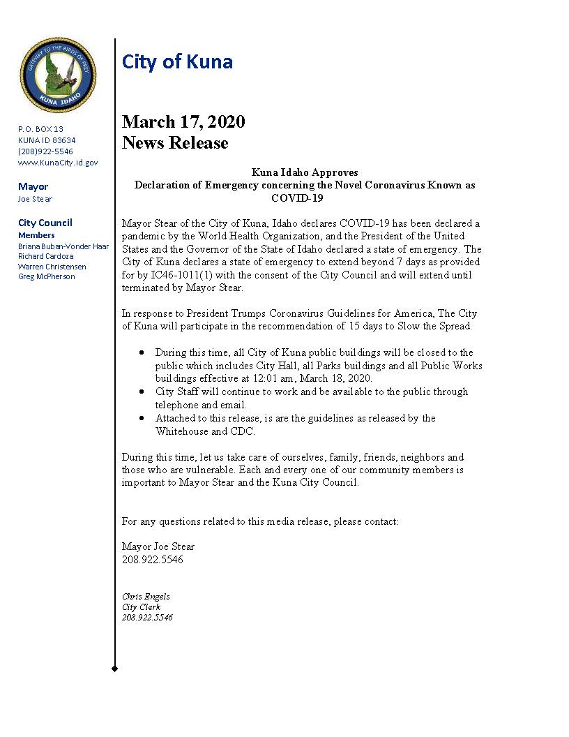 Emergency Declaration Mayor media release 03.17.2020